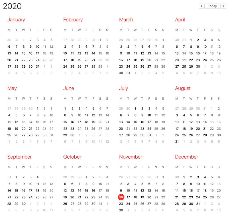 apple calendar 2020